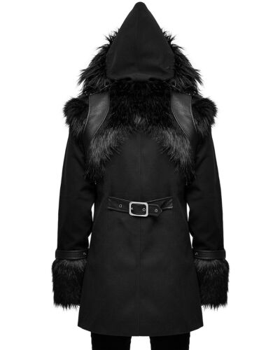 Devil Fashion Mens Goth Punk Hooded Military Coat Jacket Black Faux Fur Leather