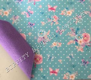 Nuevo-Doble-Cara-034-Floral-Mariposas-034-Hoja-de-Tela-con-respaldo-de-fieltro-arcos-del-pelo