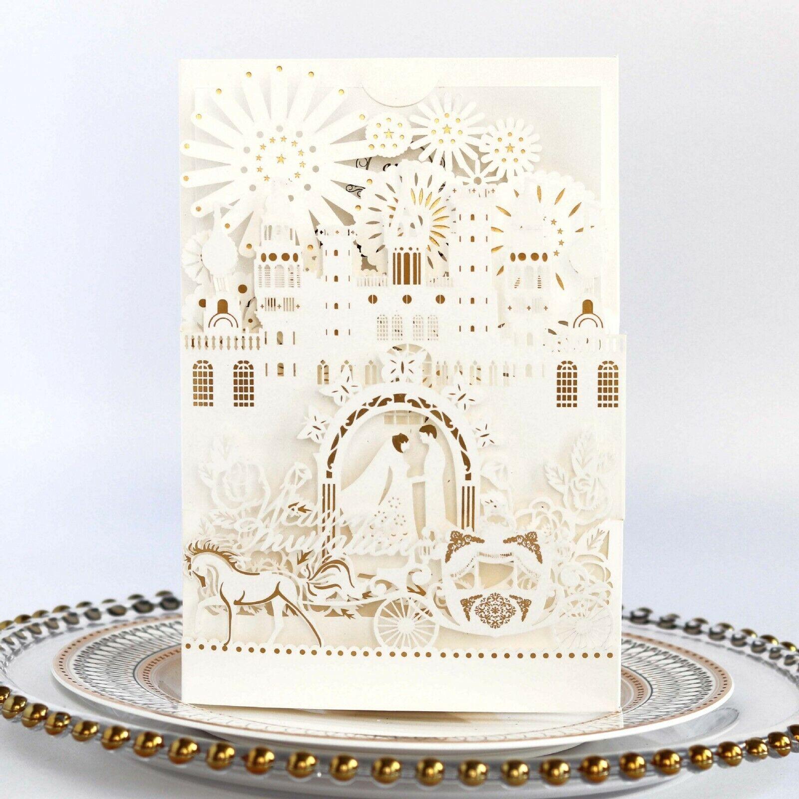 Or-Blanc 3D Brillant Amour Chateau Mariage Invitations Carte Enveloppe Fête D'Anniversaire