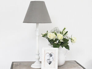 antique white wooden lamp base grey linen shade table bedside shabby chic. Black Bedroom Furniture Sets. Home Design Ideas