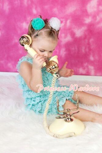 New Born Baby Aqua Blue Ruffles ONE PIECE Petti Romper Kid Girl Size NB-3Year
