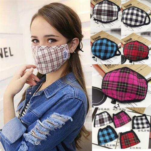 1//5Pcs Cute Anti-Dust Wind Plaid Mouth Muffle Mask Face Masks Gauze Respirator*O