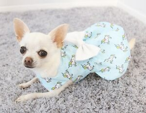 Handmade Summer Dog Dress For Small Dogs Blue Unicorn Puppy