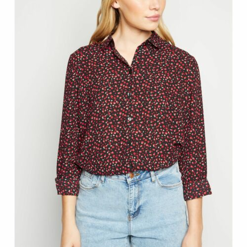 New Look Petite Black Abstract Spot Shirt