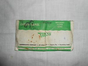 """NOS Vintage """"Thermo Green Label 50mm Schweißer Filter Objektiv"""" ~ thermacote Shade 4"""