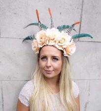 Festival Feather Flower Headband Large Boho Headdress Headpiece Peach Rose 2976