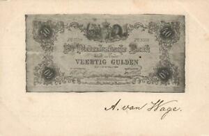 1902-VINTAGE-NETHERLANDS-40-GULDEN-BANKNOTE-POSTCARD-USED-to-Middelburg-1c-stamp