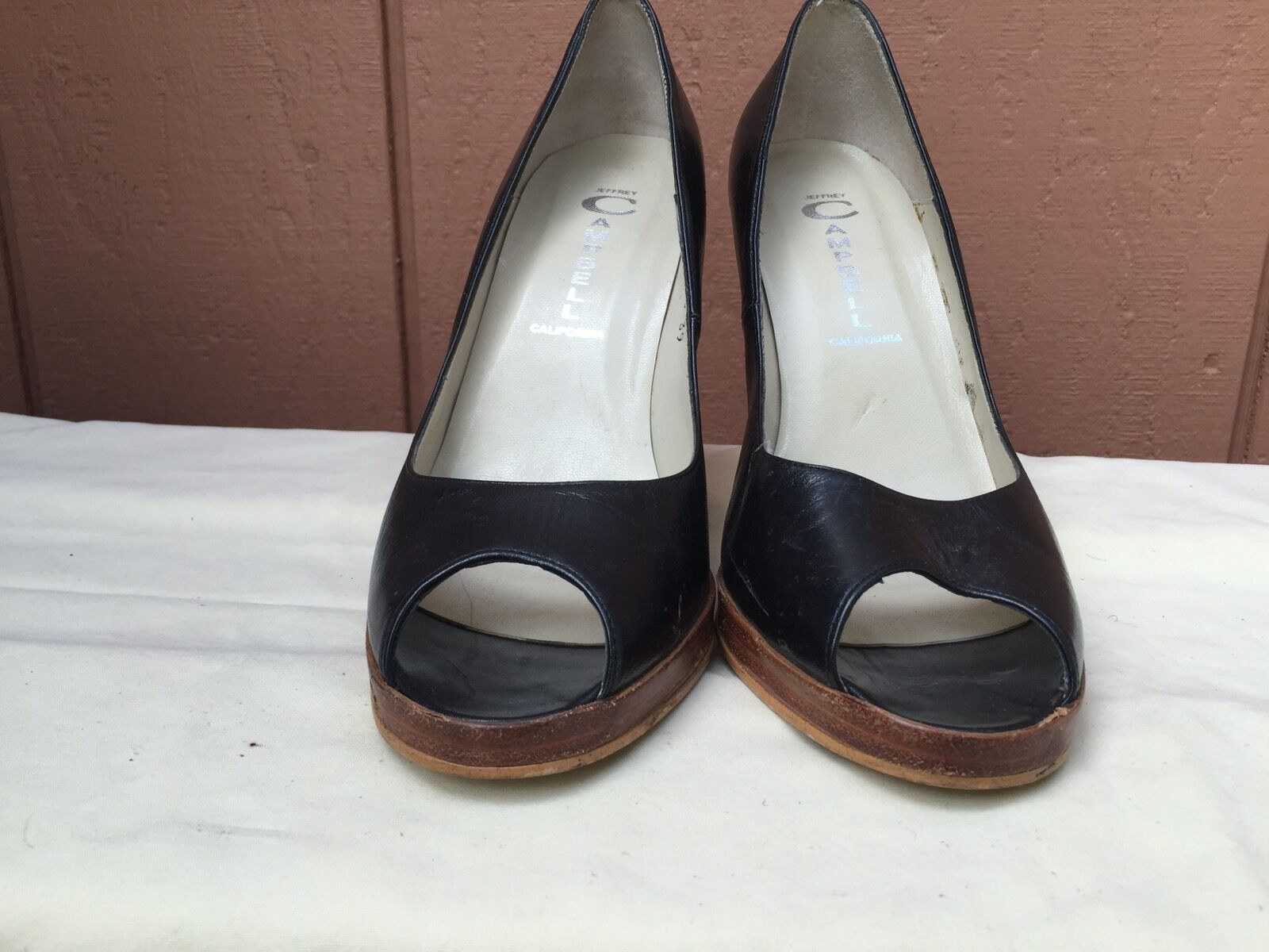EUC PUMPS JEFFREY CAMPBELL schwarz LEATHER OPEN TOE CLASSIC PUMPS EUC US SZ 9 3f3be9