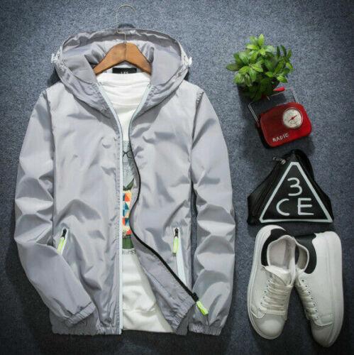 Plus Size Men/'s Casual Thin Hooded Jacket Windbreaker Sport Loose Coat Tops New