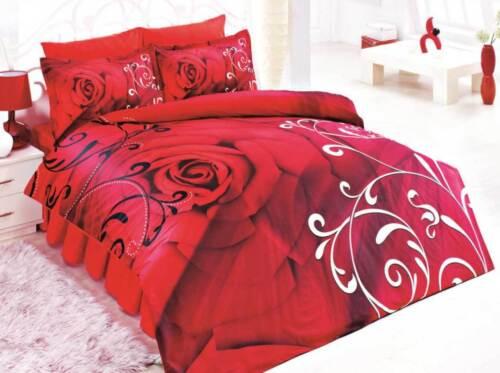 Bettwäsche 200x200 cm Bettgarnitur Bettbezug Baumwolle Kissen 5 tlg ROSALINDA RO