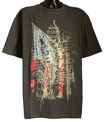 Mens Big Size Designer Vintage USA Flag Skull Tee Shirt Charcoal 3XL 4XL 5XL 6XL