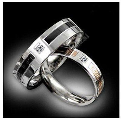 Diamante Gold/Black Titanium Steel Lovers Promise Rings Couple Wedding Bands #54