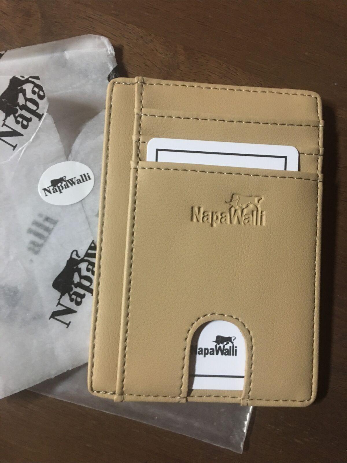 NapaWalli Front Pocket Wallet Genuine Leather Hazelnut ID Credit Card Holder