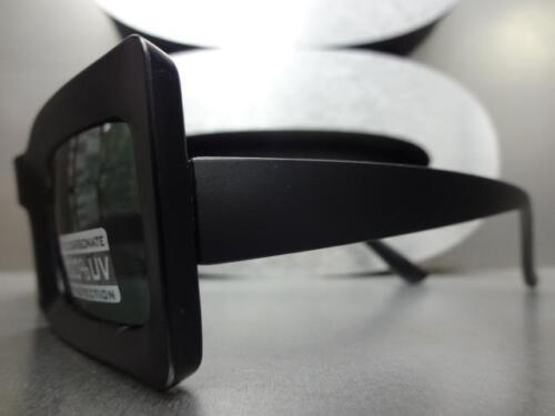 Classic Vintage Retro Style SUN GLASSES Rectangular Matte Black Frame Green Lens