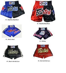 NEW-Fairtex-Muay-Thai-Kickboxing-Shorts-Choose-Red-Black-Blue-Gold-White