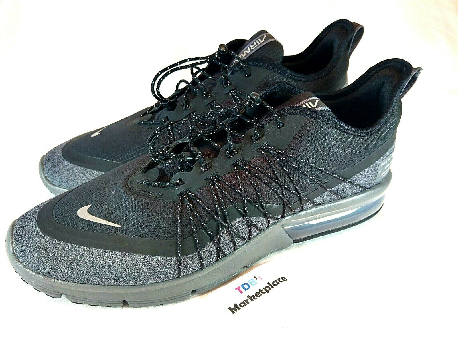 0292e4897d9e7 Nike Air Max Sequent 4 Shield Mens Av3236-001 Black Grey Utility ...