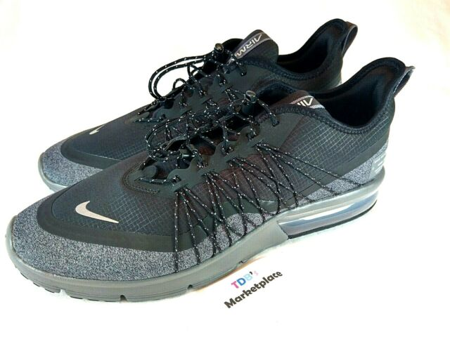 7385d57ec5f Nike Air Max Sequent 4 Shield Men s AV3236 001 Black Grey Utility Shoes  Size 9.5