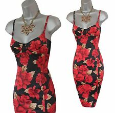 Karen Millen Red Vintage Rose Print Bodycon Wiggle Corset Cocktail Dress UK8  36