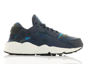 NIKE-AIR-HUARACHE-RUN-PRINT-CAMO-WOMENS-TRAINERS-BLUE-BLACK-725076-400-UK-5