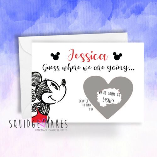 Personalised we/'re going to Disney Greeting Card Scratch Card* Surprise trip