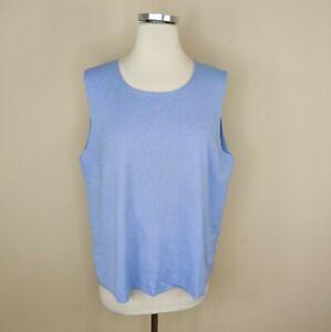 Eileen Fisher XL Merino Wool Fine Knit Tank Top Light Blue Sleeveless