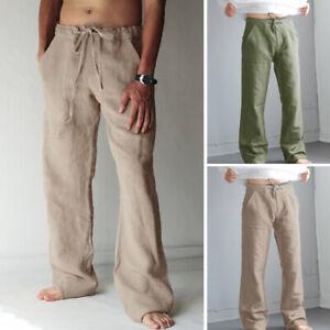 Men-039-s-Casual-Cotton-Linen-Baggy-Harem-Yoga-Pants-Drawstring-Long-Slacks-Trousers