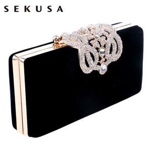 510016899e SEKUSA Clutch evening bags Crown rhinestones evening purse shoulder ...