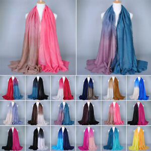 Women-039-s-Gradient-Scarf-Stole-Wrap-Shawl-Soft-Cotton-Linen-Yarn-Scarves-Scarf-New