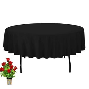 60-034-Inch-Black-Round-Tablecloth-For-Polyester-Fabric-For-Catering-Party