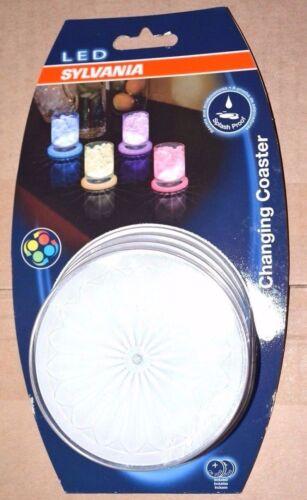 NIB Osram Sylvania Splash Proof LED Coasters Pack of 4