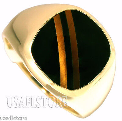 Mens Double Tiger Eye Line  w/ Black Stone 18kt Gold Plated Ring