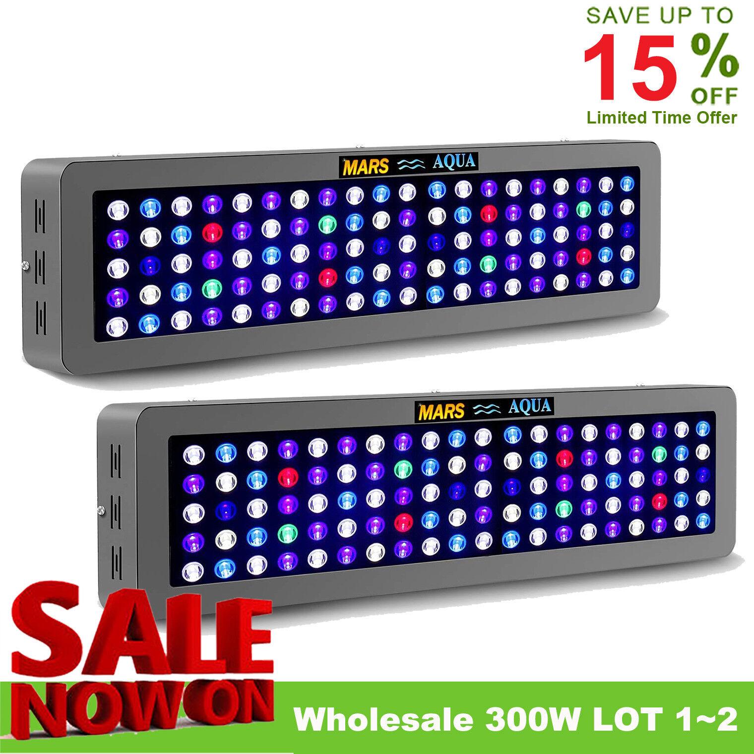 1 ~ 2pcs regolabile marsaqua 300W LED Luce Acquario Full Spectrum Coral Reef Tank