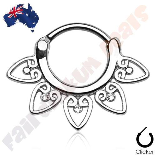 316L SSteel Silver Ion Plated Tribal Fan Septum Ring Clicker Clear Gems