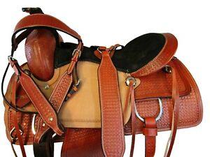 CUSTOM TOOLED LEATHER WESTERN HORSE SADDLE ROPING RANCH PLEASURE TACK SET 16 17