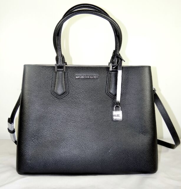 e9b0bc66e011 Michael Kors Adele Black Leather Large Satchel Bag 35t8safs3l for ...