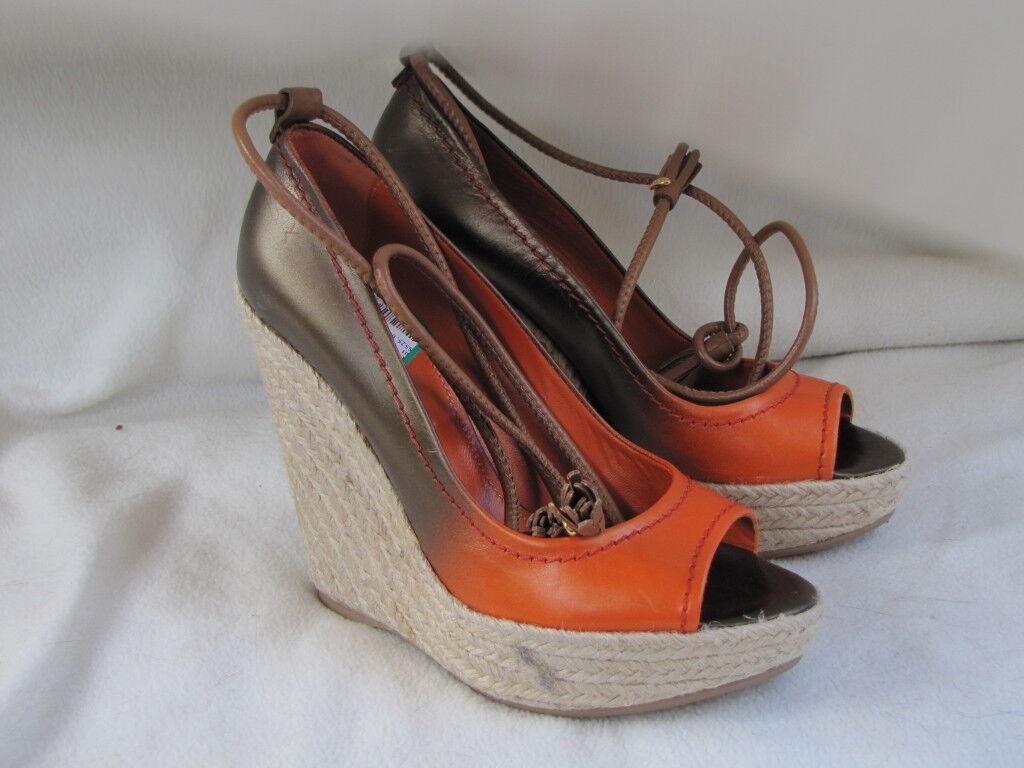 SERGIO ROSSI Schuhe heels Platform Leder Pumps Sling Espadrills orange Leder Platform 15125f