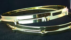 Ludwig-NEW-Brass-Plated-Die-Cast-Snare-Drum-Hoops-14-034-PAIR-10-Hole-Lug