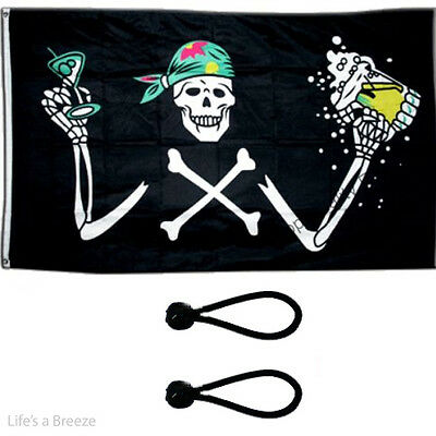 Pirate Girl Flag 5 x 3 ft .Comes with Free Ball Ties