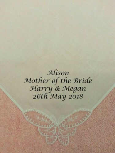 PERSONALISED WOMEN HANDKERCHIEF HANKIE WEDDING GIFT MOTHER OF THE BRIDE LADIES