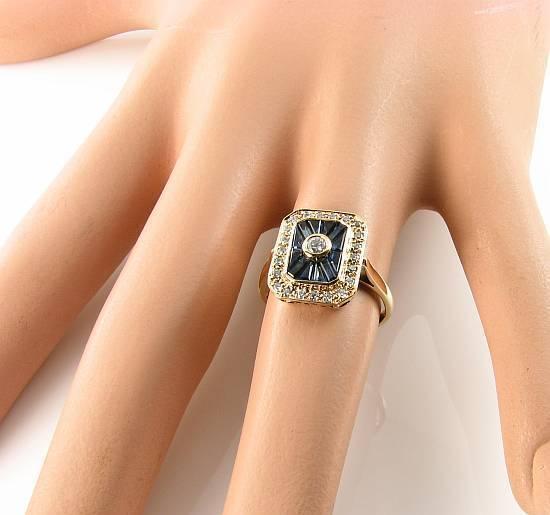GRANDE 9K 9CT oro Blu Blu Blu Zaffiro & Diamante Anello Art Deco INS libero Ridimensiona c2f3c8