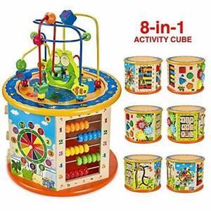 8 en 1 en bois Activité cube jouet bébé BEAD MAZE Educational Early Learning Puzzle
