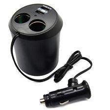 Dual Car Cigarette Lighter Socket DC Power Adapter Charger Splitter + 2 USB Port