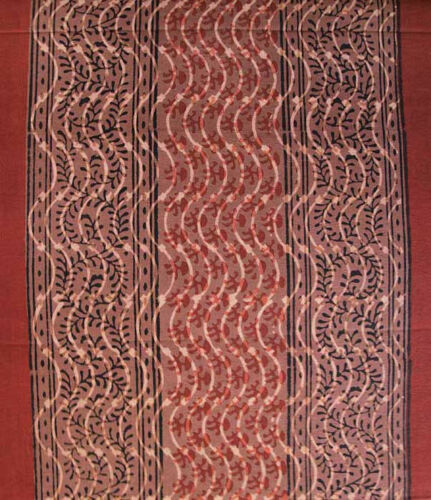 Burgundy /& Black Hand Block Print Cotton Fabric 2½ Yards