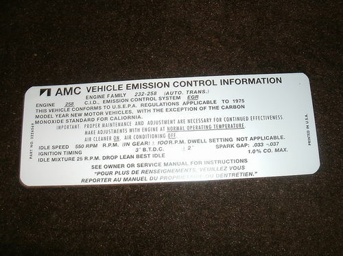 1975 AMC GREMLIN EAGLE PREMIER 258 EMISSIONS DECAL