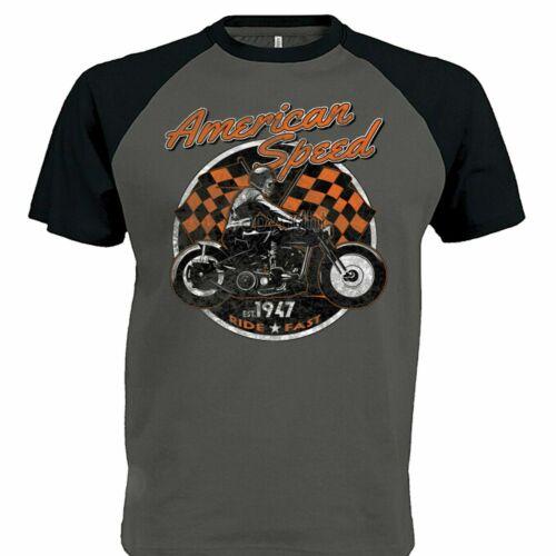 Hommes Biker T Shirt Bobber Chopper American Classic Moto Moto Speed 94