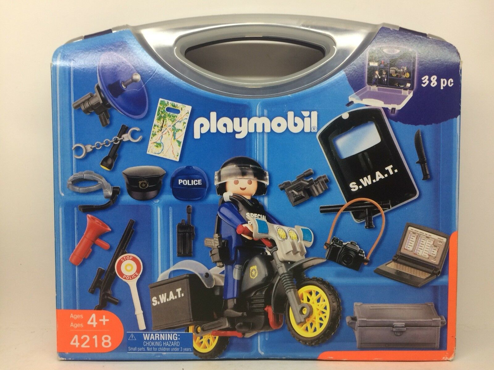 Playmobil 4218 • Swat Police Police Police 38 Pieces With Carrying Case 3972a2