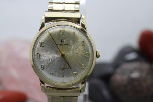 Vintage Hamilton Hand Wind Gold Tone Bracelet Watch Running