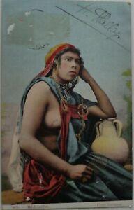 Bedouine-Jeune-Donna-Topless-Tunisia-Bon-Stato-1908
