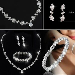 Silver Bridesmaid Crystal Necklace Earrings Jewelry Set Wedding