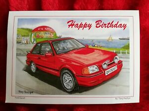 Ford Escort by the sea, Mumbles - Birthday Card - Tony Paultyn